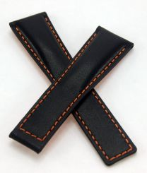 22/18 mm black genuine leather deployment type strap with orange stitching & lining to fit TAG Heuer Monaco models listed - please read clasp fitment notes