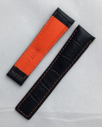 22/18 mm black genuine leather crocodile-style deployment type strap with orange stitching and lining to fit TAG Heuer Monaco models listed below - please read clasp fitment notes