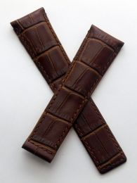 22/18 mm brown crocodile-style genuine leather deployment type strap with brown stitching to fit TAG Heuer Silverstone Models listed - please read clasp fitment notes