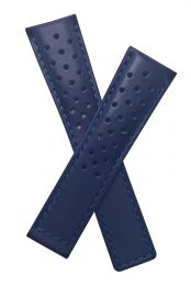 22/18 mm navy blue sports perforated genuine leather deployment type strap with blue stitching and lining to fit TAG Heuer Silverstone models listed - please read clasp fitment notes