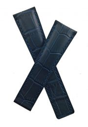 22/18 mm navy blue crocodile-style genuine leather deployment type strap with blue stitching to fit TAG Heuer Silverstone models listed - please read clasp fitment notes