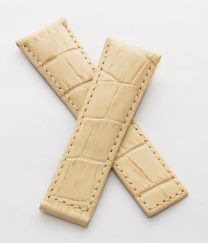 22/18 mm short cream genuine leather crocodile-style deployment type strap with cream stitching to fit TAG Heuer Monaco models listed below - please see clasp fitment notes