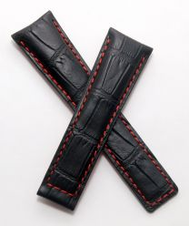 22/18 mm black genuine leather crocodile-style deployment type strap with red stitching to fit TAG Heuer Monaco LS & 24 models - please read clasp fitment notes