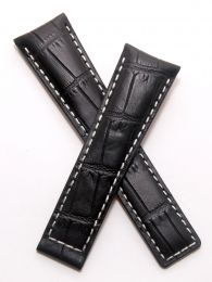 22/18 mm black genuine leather crocodile-style deployment type strap with white stitching to fit TAG Heuer Monaco LS & 24 models listed - please read clasp fitment notes