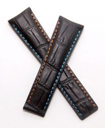 22/18 mm black genuine leather crocodile-style deployment type strap with orange & light blue stitching to fit TAG Heuer Monaco LS & 24 models listed - please read clasp fitment notes