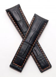 22/18 mm black genuine leather crocodile-style deployment type strap with orange stitching to fit TAG Heuer Monaco LS & 24 models listed - please read clasp fitment notes