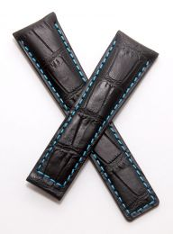 22/18 mm black genuine leather crocodile-style deployment type strap with light blue stitching to fit TAG Heuer Monaco LS & 24 models listed - please read clasp fitment notes