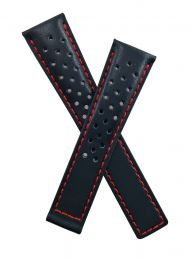 20/16 mm black sports perforated genuine leather strap with red stitching to fit TAG Heuer Monza models starting CR21-, CR51- & WR21-.  Please read clasp fitment details.