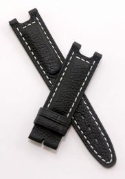 Black Buffalo Grain leather strap with white stitching to fit TAG Heuer S/el gents models as listed below