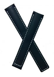 Black genuine leather strap with white stitching to fit TAG Heuer S/el ladies models listed below.