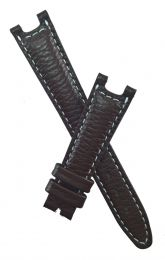 Brown Buffalo Grain leather strap with white stitching to fit TAG Heuer S/el mid-sized models with pin buckles