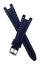 Navy blue Buffalo Grain leather strap with white stitching to fit TAG Heuer S/el mid-sized models with pin buckles ***LIMITED EDITION***